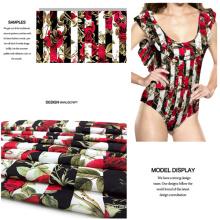 Rose Design Polyester Spandex Printed Swimwear Fabric