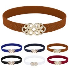 Grace Karin Women Ladies Girls Metal Floral Interlock Buckle Stretchy Elastic Waist Belt Waistband CL010410