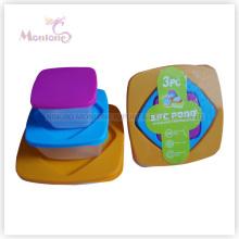 Caixa de almoço de 3pack Bento, recipiente de alimento plástico seguro do armazenamento da microonda