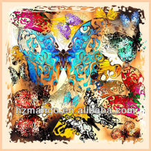 Digital Butterfly Printing Square Silk Scarf