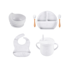 Leak Proof Food Design Marble Cup With Plate Complete Silicone Bibs And Bowl Baby Feeding Set Grey