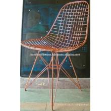 Chaise à fil métallique industriel à finition en cuivre