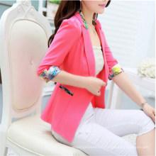 Designs de haute qualité de couleur unie bonbons blazer dames (50090-1)