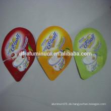 Fabrik Preis gedruckt Aluminium Deckel Folie für Joghurt Cups Verpackung Abdichtung mit PS / PP