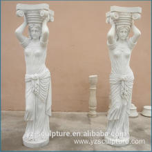 Outdoor White Marble Lady Column