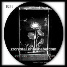 Flor de subsuelo láser 3D K9 dentro de rectángulo de cristal