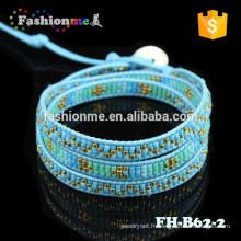 bracelet en cuir de pellicule japonaise graine perle femmes lueur