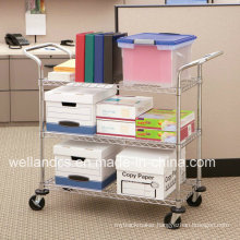 Adjustable Metal Basket Rack/Basket Trolley for File/Paper Storage (BK753590A3CW)
