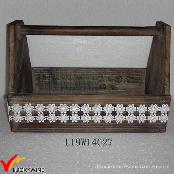 Fir Wood Lace Decor Hand Made Garden Tool Basket