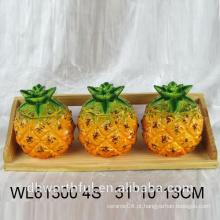 Alta qualidade cerâmica abacaxi condimento garrafa conjunto talheres para cozinha