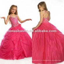 ЛЛ-0050 прекрасный Холтер бисером стразами бальное платье развертки поезд свадебное платье цветочница платье