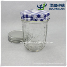 6oz 180ml Clear Empty Embossed Glass Mason Jar