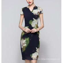 Summer Chinese Style Lotus Flower Print Elegant Women′s Dress