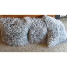 Tibetan Lamb Fur Pillow Single Sided Fur muchos colores