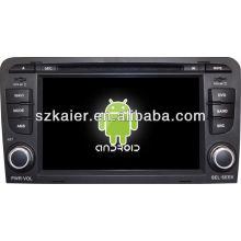 Reproductor de DVD del coche Android System para Audi A3 con GPS, Bluetooth, 3G, iPod, juegos, zona dual, control del volante