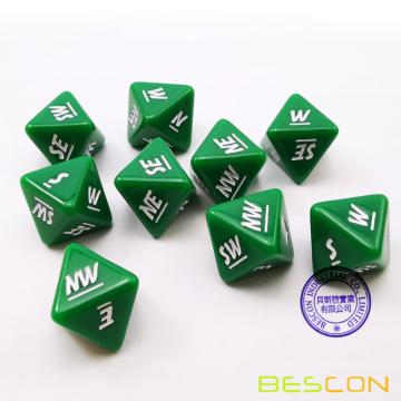 Bescon's Emotion, Weather and Direction Dice Set, 3 piece Proprietary Polyhedral RPG Dice Set in Blue, Green, Yellow