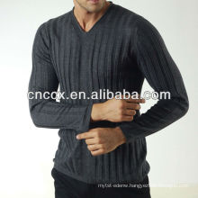 13STC5582 latest design pullover V-neck mens cable knit sweater