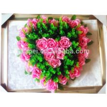 Véritable touche en gros coeur artificiel forme fleur guirlande pour funérailles