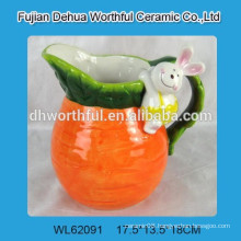 Ceramic milk jug with rabbit figurine