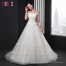 Z-009 A-Line Off The Shoulder Appliques Lace Beading Lace Up Vestido de casamento