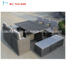 Save Shipping Cost Rattan Garden Dining Sofa with Ottoman (CF659-T-1)