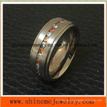 Mode Red Zircon Stein Edelstahl Titan Ringe (TR1823)