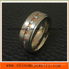 Fashion Red Zircon Stone Stainless Steel Titanium Rings (TR1823)