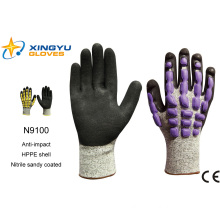 Hppe Shell Nitrile Sandy Coated Safety Work Glove (N9100)