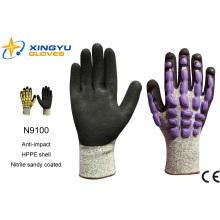 Hppe Shell Nitrile Sandy guantes de trabajo de seguridad recubiertos (N9100)