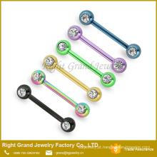 Arco-íris chapeado aço dupla CZ Gem Barbell falso mamilo jóia Piercing