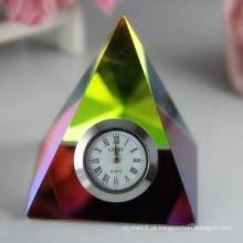Crystal Clock / Watch Pyramid para presente de decoração para casa