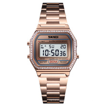 SKMEI 1474 Fashion Women Stainless Steel Digital Watch Diamond Alloy Electronic Wrist digital luxury gold watch