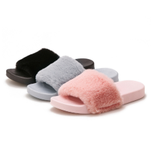 Summer Faux Fur Slides PVC Flat Fluffy Slippers