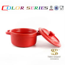 Chaozhou tableware ceramic microwave soup bowl with lid and handle