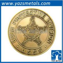 la costumbre conmemora la moneda, el presidente por encargo protege con la galjanoplastia de cobre amarillo antigua