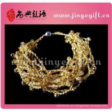 Hilo de colores brillantes Hangcrafted Wire Fashion Gold Crochet Bangle