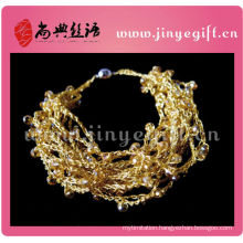 Brightly Colored Thread Hangcrafted Wire Fashion Gold Crochet Bangle
