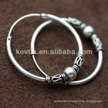 Женщины старинный стиль 925 Таиланд серебряные серьги обруча