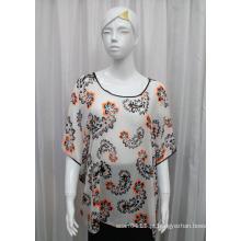 Senhora moda paisley impresso poliéster seda chiffon t-shirt (yky2223)
