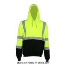 100% Polyester Fleece Sudadera de manga larga de seguridad para hombre con cinta reflectante