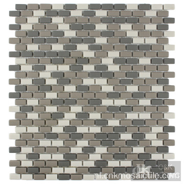 Mix Coclor Subway Tile met Glass Mosaic Accent