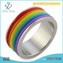 Rainbow silver gay pride ring,lesbian pride rings jewelry