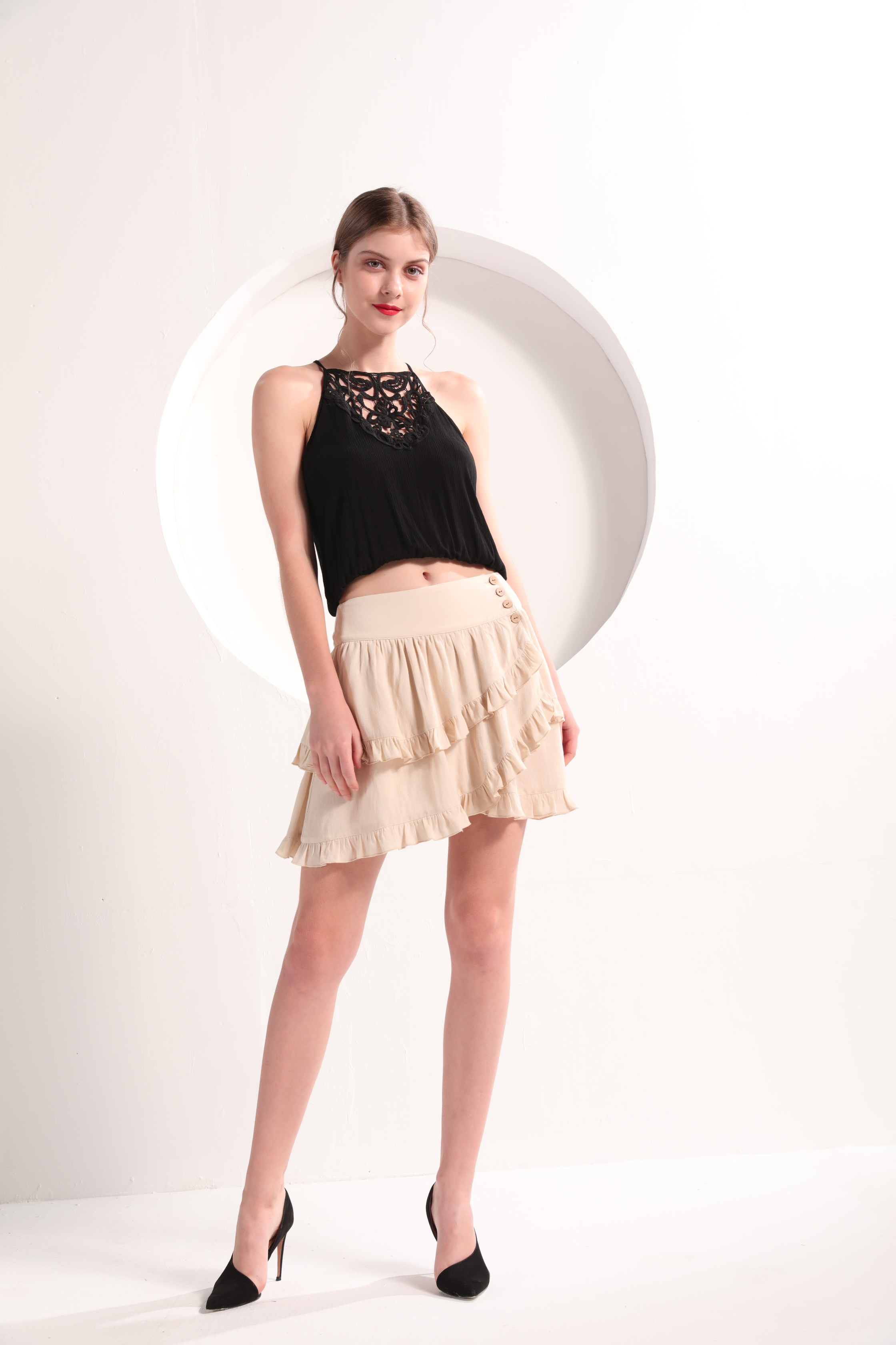 Ladies' Tiered Ruffle-Trim Mini Skirt