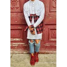Tela escocesa roja del remiendo camisetas Manga larga inferior roja de la tela escocesa