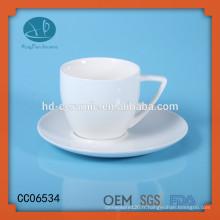 Tasse à café blanc en céramique avec soucoupe, tasse à thé et soucoupe en céramique sur mesure, Tasses en céramique avec sous-verres