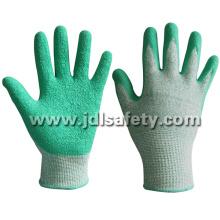 Зеленые Cut стойкая перчатка работы с покрытием из латекса (LD8056)