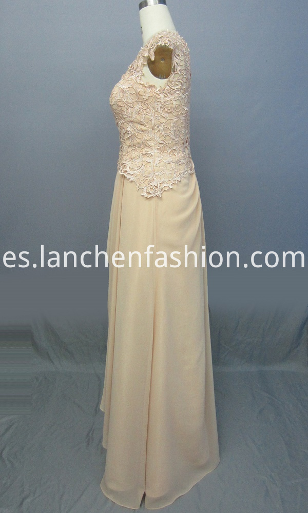 Cap Sleeve Chiffon Evening Dress