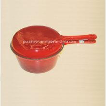Эмалевый чугун с двойным употреблением молока с крышкой в виде сковорода