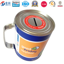OEM Chinese Factory Round Coin Bank with Handle Tin Can Jy-Wd-2015112801