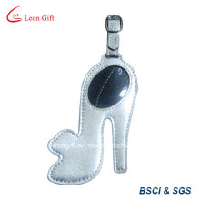 Etiqueta de equipaje de cuero de zapato de tacón alto diseño plata PU